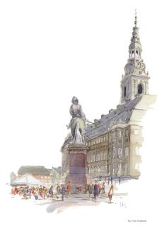 The Danish Parliament, Copenhagen Watercolor painting by Frits Ahlefeldt
