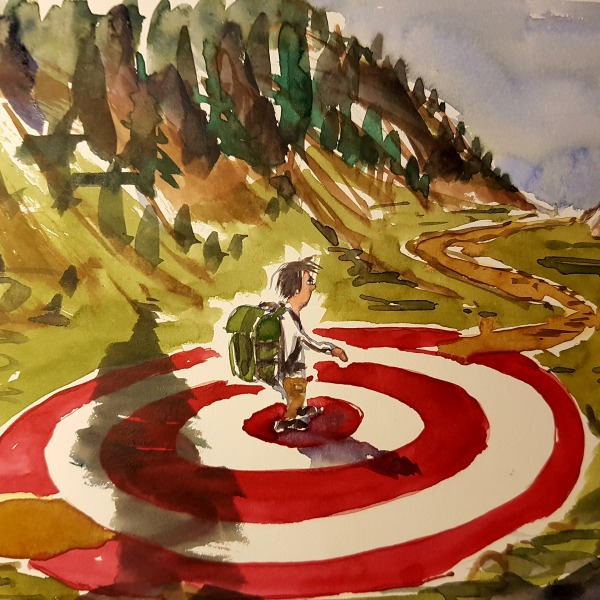 hiker in a goal target circle, moving on