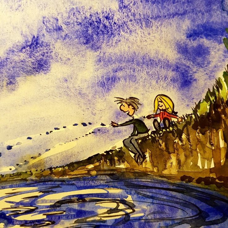 Drawing of of a father and daughter, throwing small pebbles into a lake, illustration by Frits ahlefeldt