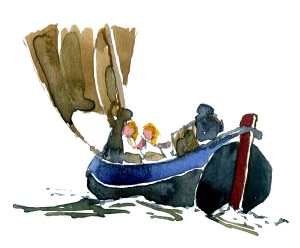 watercolor boat - study of Winslow Homer watercolor