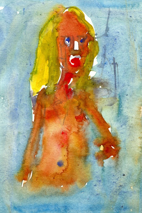 woman in water - Watercolor people portrait by Frits Ahlefeldt