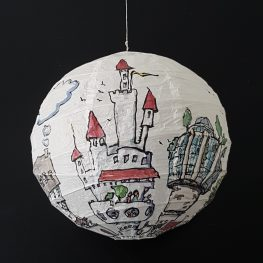 Sphere rice paper lamp painting by Frits Ahlefeldt. houses architecture
