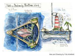 Off shore wind turbine - biodiversity idea. Idea and design by Frits Ahlefeldt