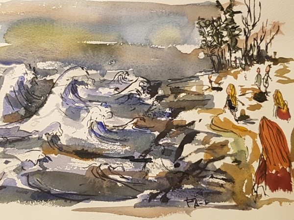 Walking along the sea while the storm alfrida approached land. Log 1. January 2019 - illustration by Frits Ahlefeldt