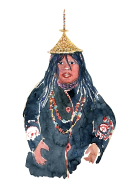 Layjap Laya Bhutan woman Watercolor people portrait by Frits Ahlefeldt