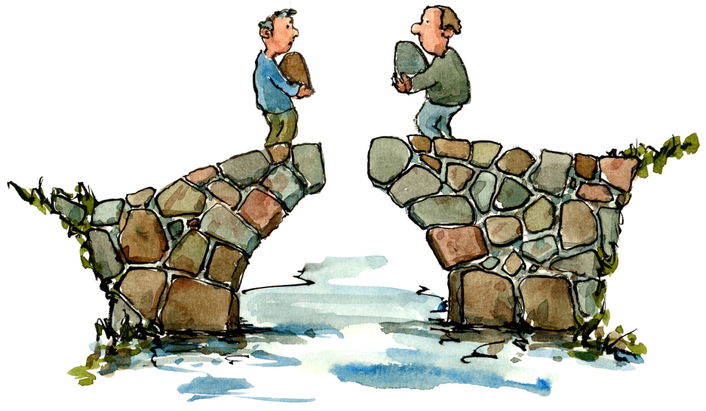 Two people building a bridge, drawing by Frits Ahlefeldt