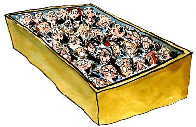 Drawing of people in a box