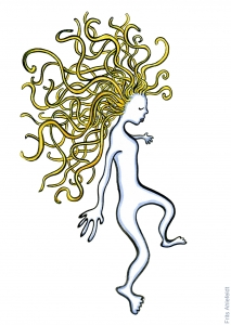 Drawing of a woman with blond hair, walking lightly
