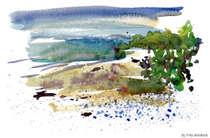 Watercolor of beach and sea, Denmark