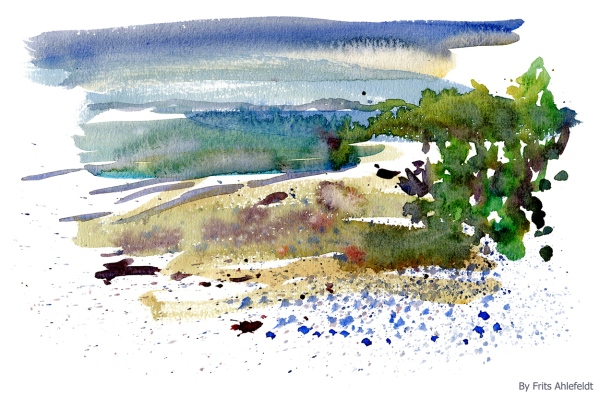 Watercolor of beach and sea, Denmark