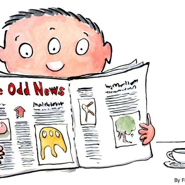 Three eyed man reading a newspaper
