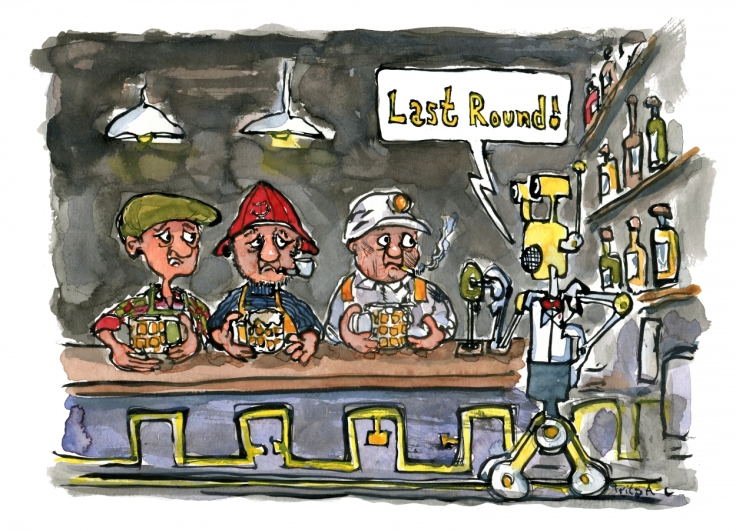 farmer, fisherman and miner sitting in a bar with a robot bartender