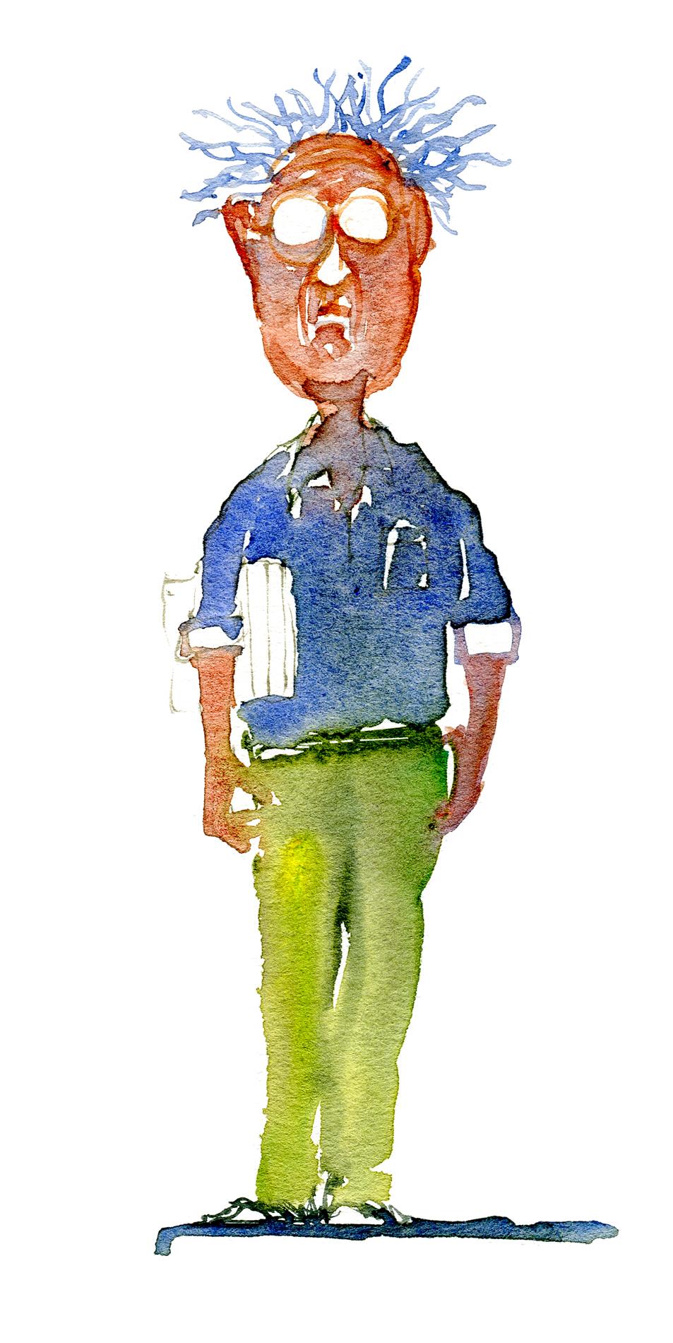 professor watercolor