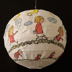 Drawing of red shirt woman walking from baby to old age around a rice paper lamp. Artwork by Frits Ahlefeldt