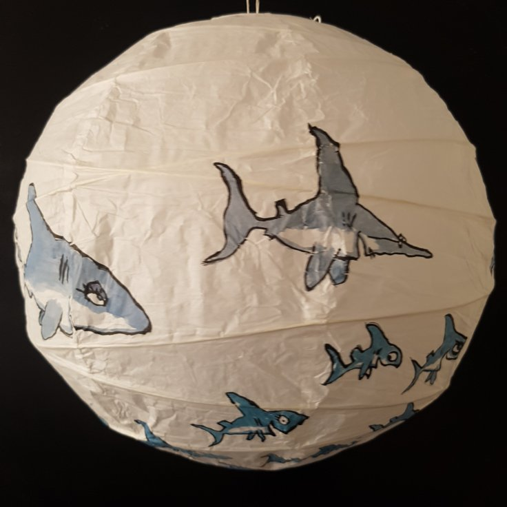 Drawing of a painted rice paper lamp with shark motive. By Frits Ahlefeldt