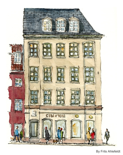 Torvegade, cibi e vini, Watercolor from Christianshavn, Copenhagen, Denmark
