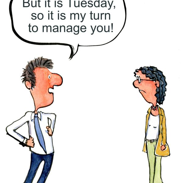 man and wife discussing management roles