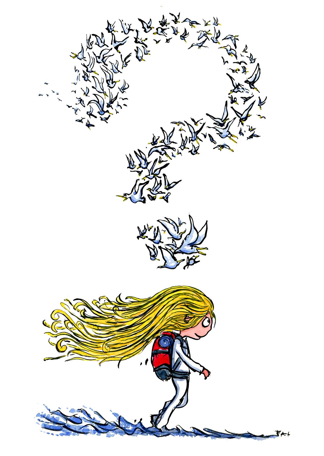 illustration of girl hiking along the sea, art by Frits Ahlefeldt