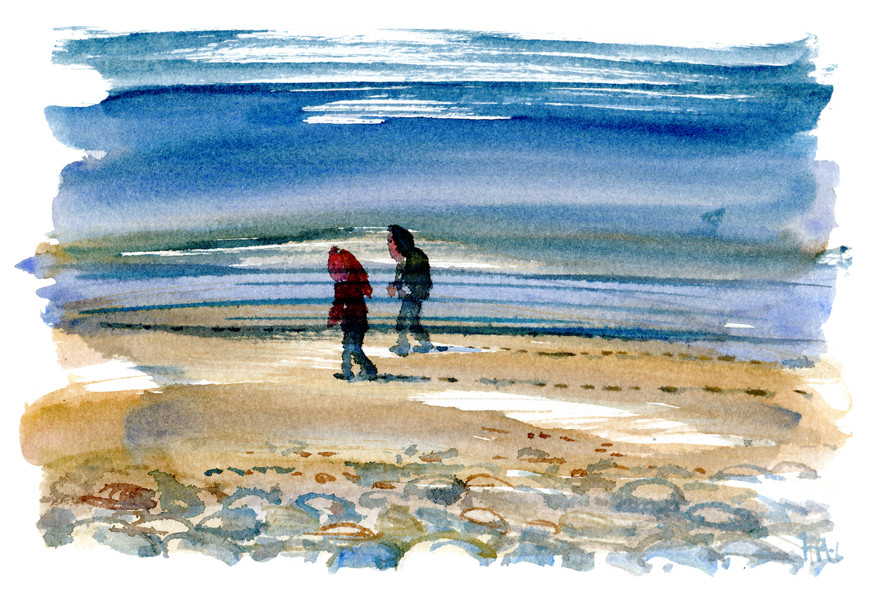 Walking along the beach, watercolor