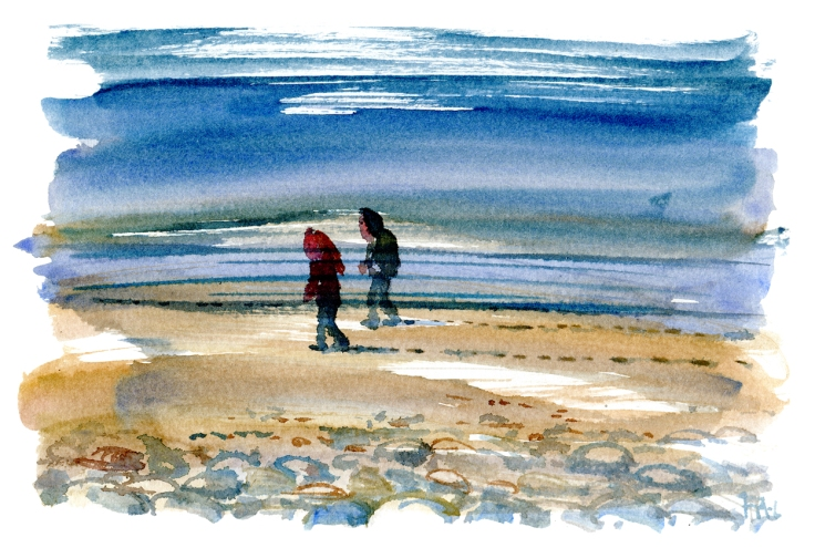 Watercolor of two people on a beach walking