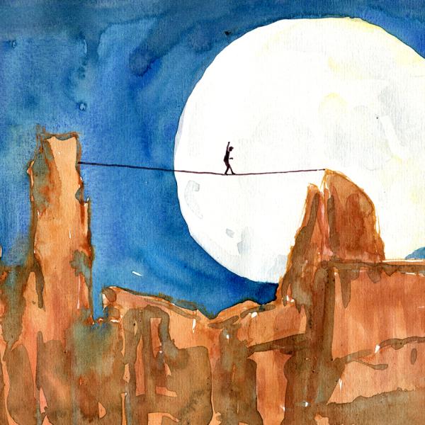 watercolor line walking, Dean Potter