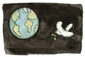 illustration of a dove with a leaf in its peak, in space heading for Earth