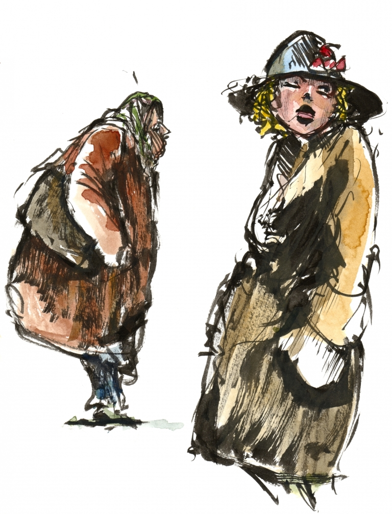 Drawing of two women, old and young