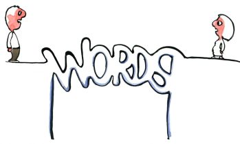 Words making up a bridge between two persons