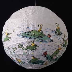 Painting of frog with crown waiting for a princess. Artwork by Frits Ahlefeldt. On rice paper lamp