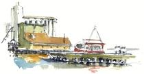 Nexo harbour, Bornholm, Denmark. Watercolor