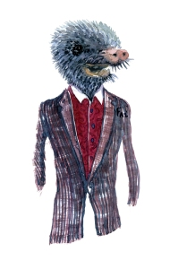 Mole in clothing Fashion watercolor painting of animal in suit by Frits Ahlefeldt