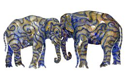Watercolour of two elephants, tribal style