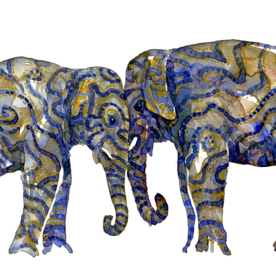 Watercolour of two elephants, tribal style