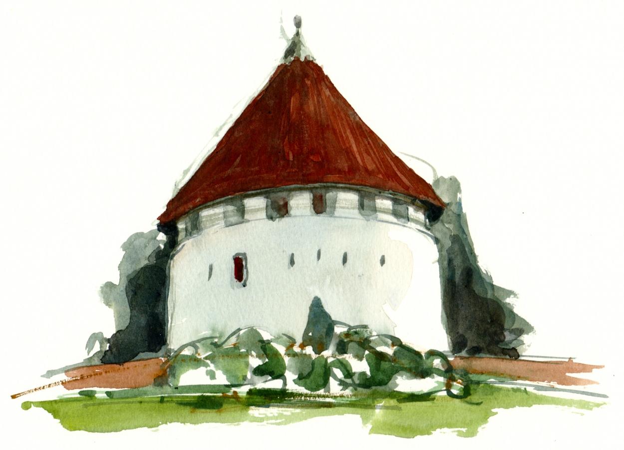 Defence tower Bornholm, watercolor