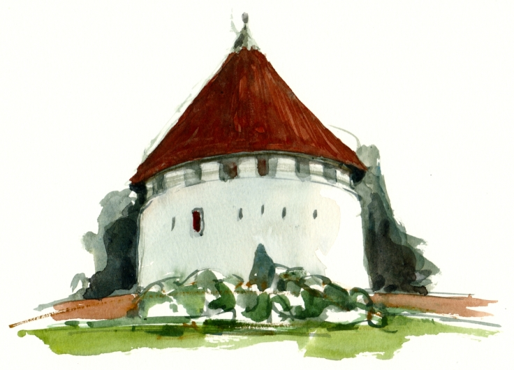Defence tower Bornholm, watercolor
