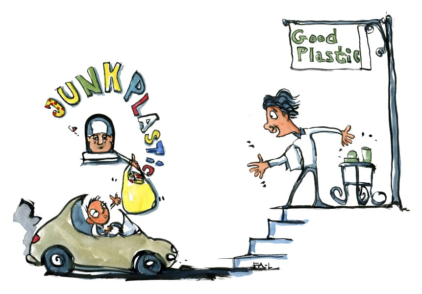 Junk plastic vs. good plastic. Drawing by Frits Ahlefeldt