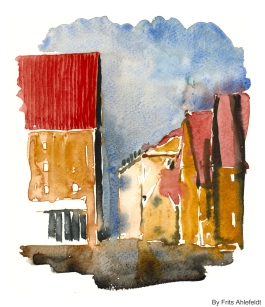 Close to the Restaurant Noma, Watercolor from Christianshavn, Copenhagen, Denmark