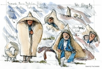 The Kepenek jacket, poncho Research sketch by Frits Ahlefeldt