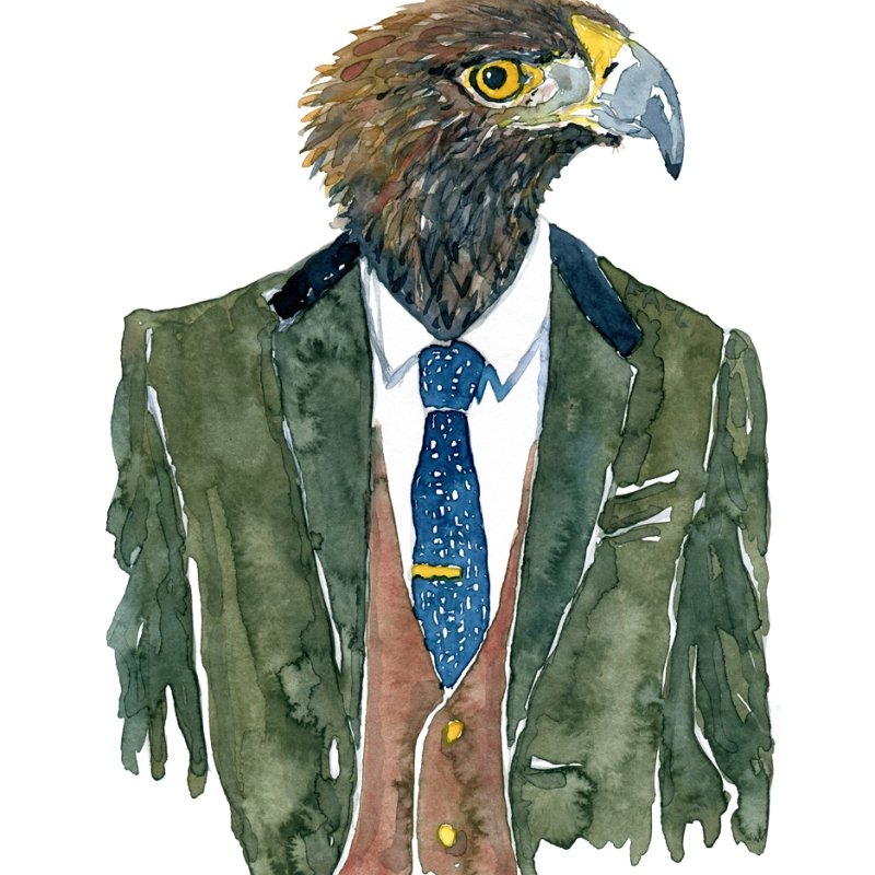 Watercolor illustration of an eagle in suit