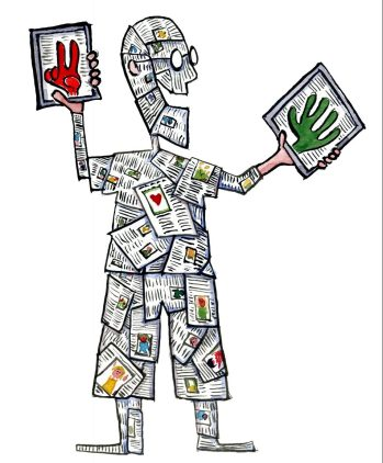 Drawing of a man made of texts with to tablets