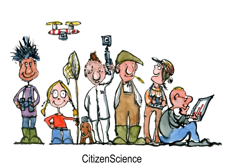 Drawing of a group of citizen scientists