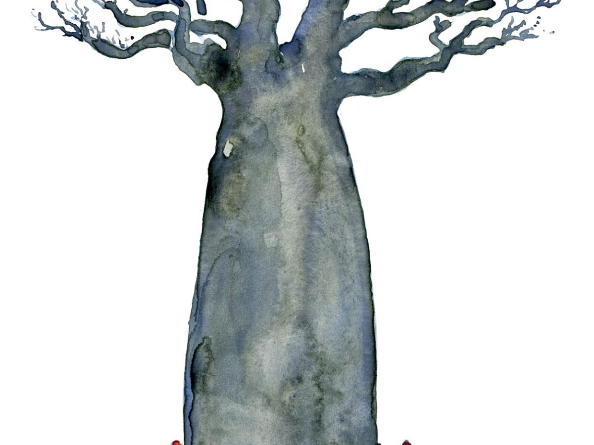 Baobab tree with a community around it