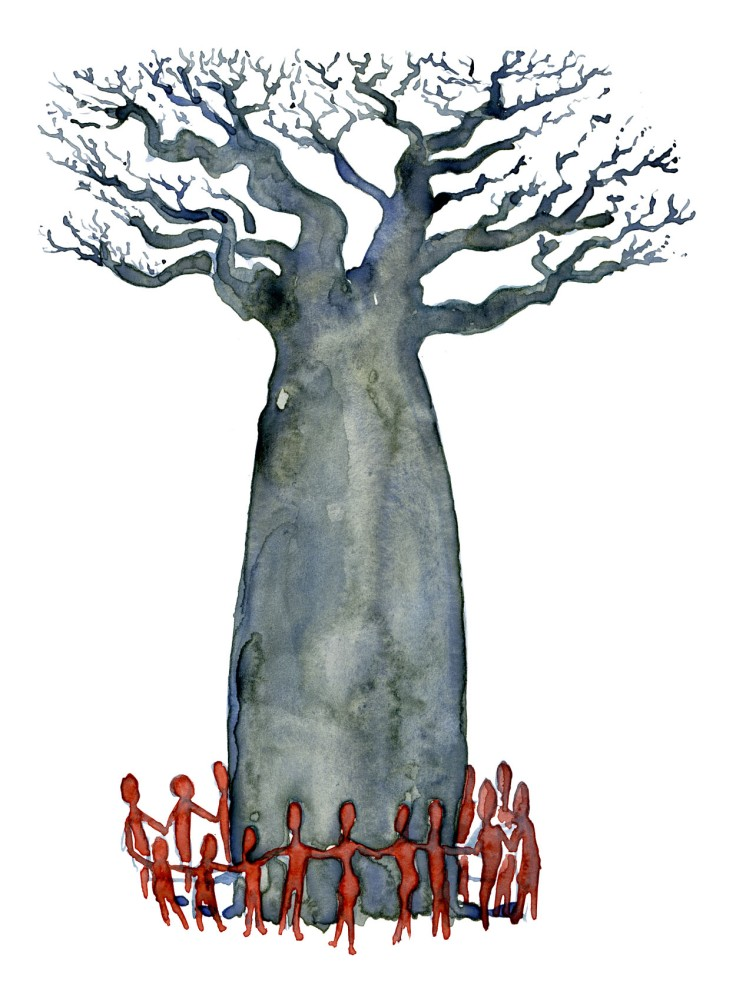 Baobab tree with a community around it