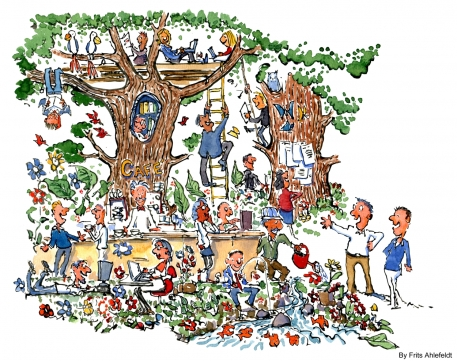Drawing of people working in a green paradise
