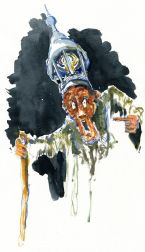 Man wearing hat with lantern Watercolor people portrait by Frits Ahlefeldt