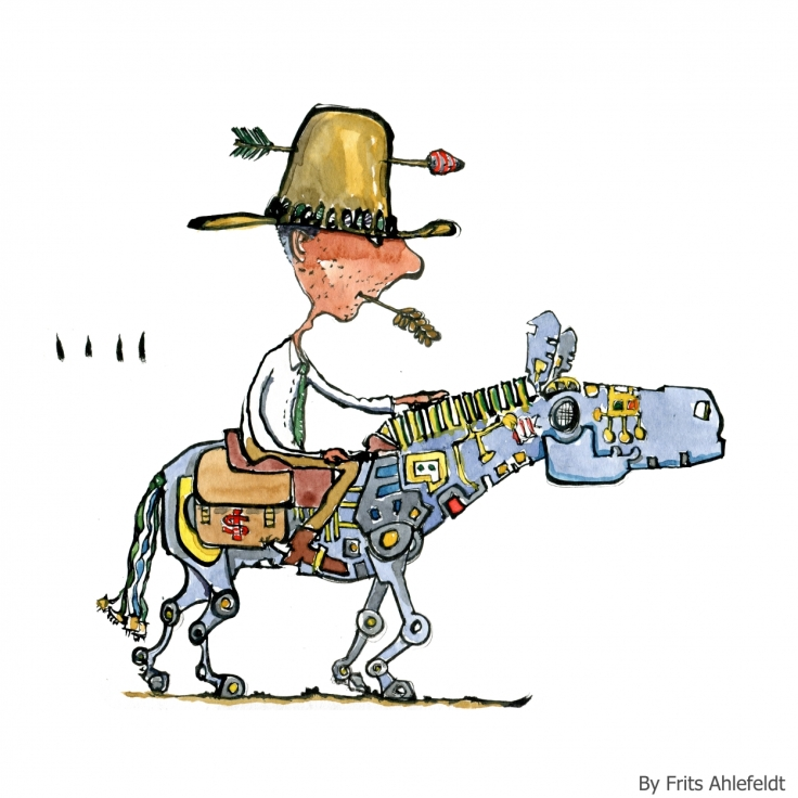 Drawing of a man on a digital robot horse