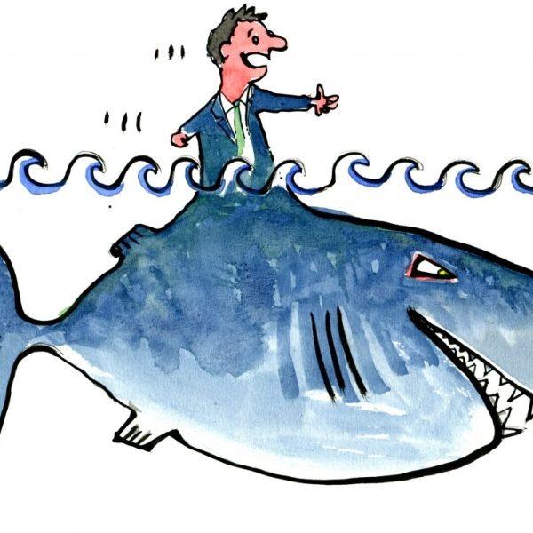 Drawing of a creature half man half shark