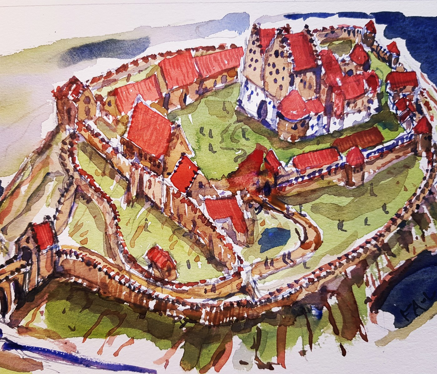 Watercolor reconstruction of the Hammershus castle ruin complex. Art by Frits Ahlefeldt