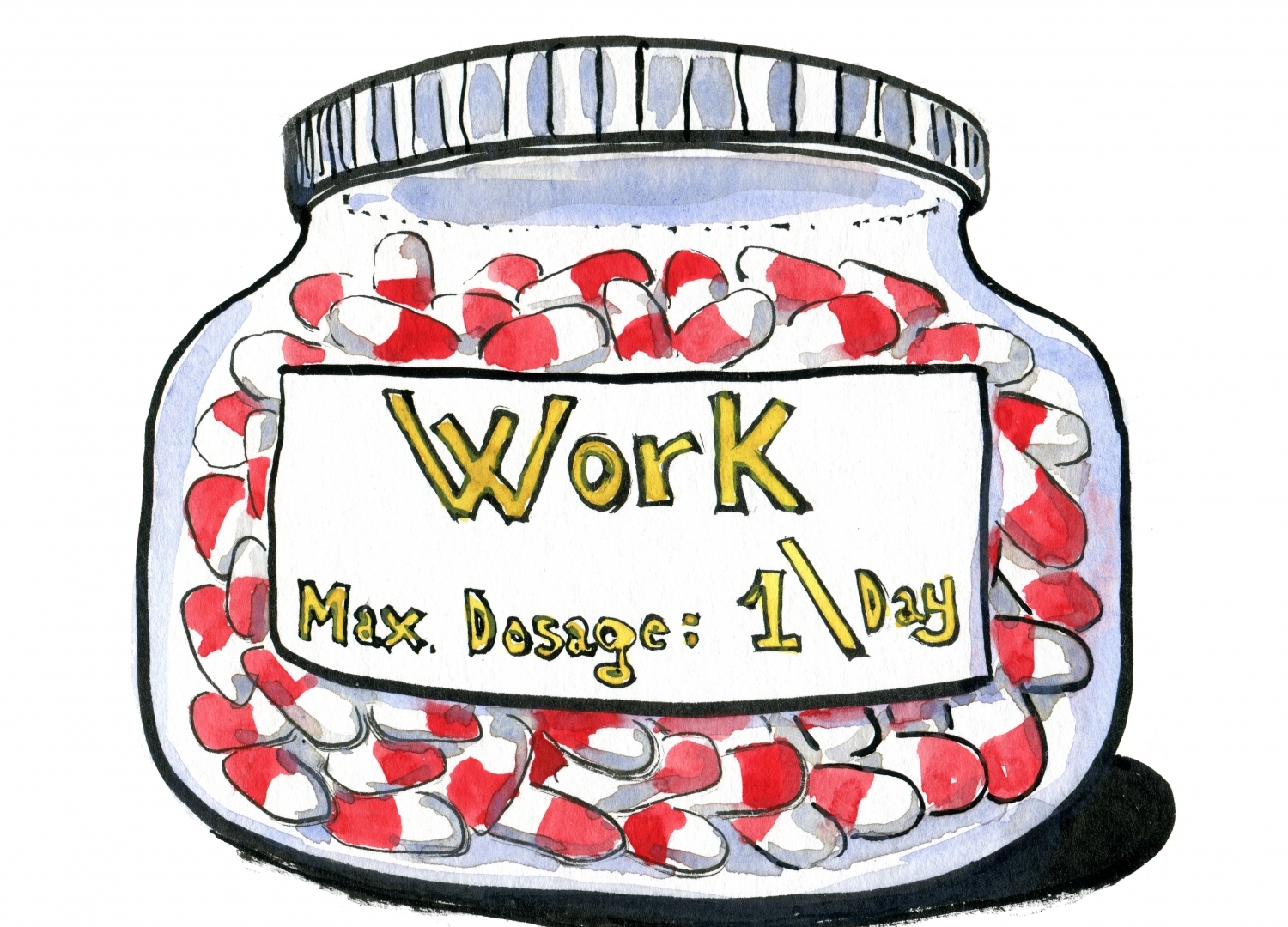 Drawing of a jar with work pills
