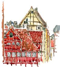 Corner house Copenhagen made in watercolor